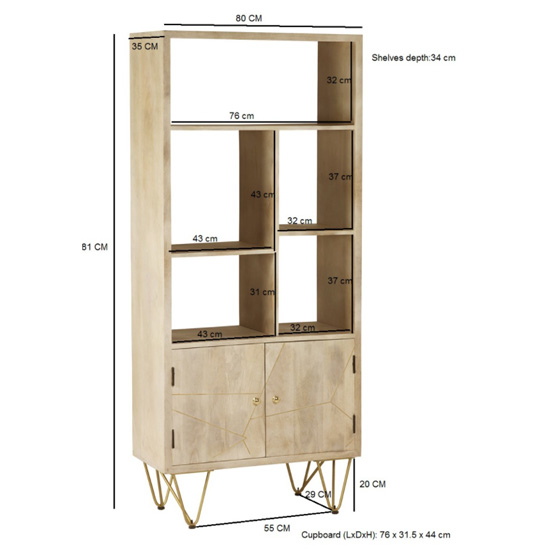 Dhort Wooden Bookcase In Natural With 2 Doors 5 Shelves_4