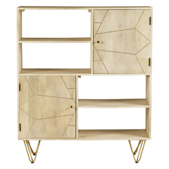 Dhort Wooden Display Cabinet In Natural With 2 Doors_2