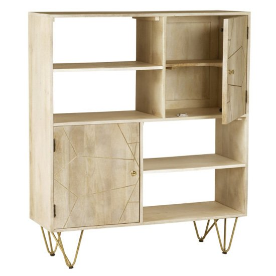Dhort Wooden Display Cabinet In Natural With 2 Doors_3