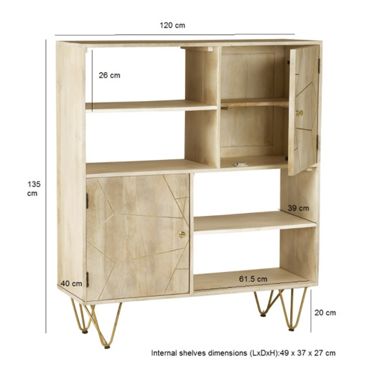 Dhort Wooden Display Cabinet In Natural With 2 Doors_4