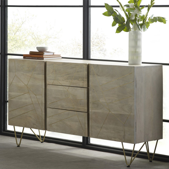 Dhort Wooden Sideboard In Natural With 2 Doors 3 Drawers