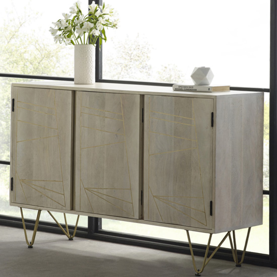 Dhort Wooden Sideboard In Natural With 3 Doors