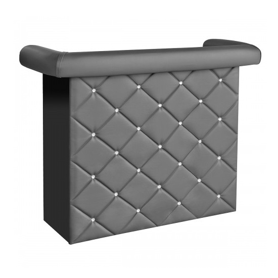 Diamond Bar Unit In Grey Faux Leather With Diamante_2