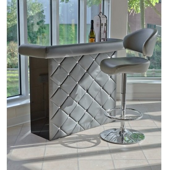Diamond Bar Unit In Grey Faux Leather With Diamante