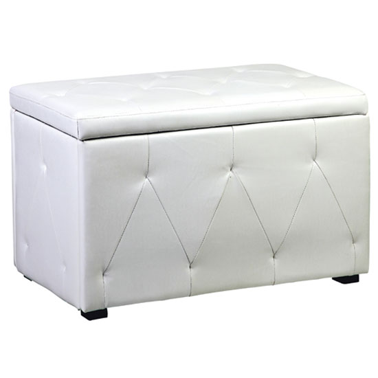 View Diana storage stool in white faux leather