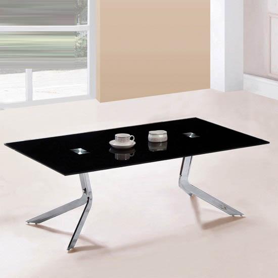 Diamond Black Glass Coffee Table