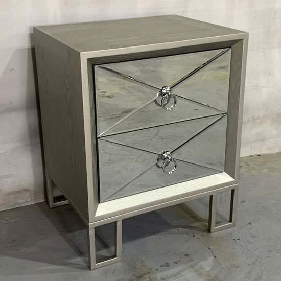 Diamond Wooden Bedside Cabinet In Vintage Champagne