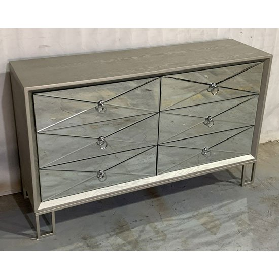 Diamond Wooden Chest Of Drawers In Vintage Champagne 6 Drawers