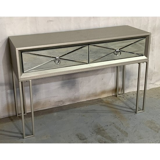 View Diama wooden console table in vintage champagne