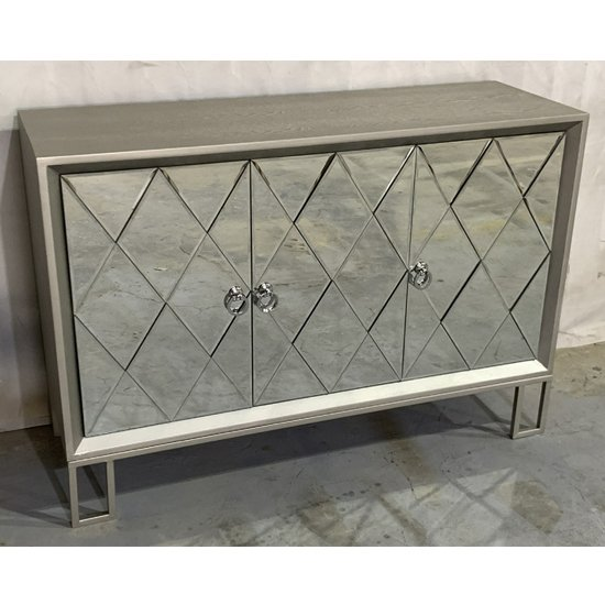 Diamond Wooden Sideboard In Vintage Champagne With 3 Doors
