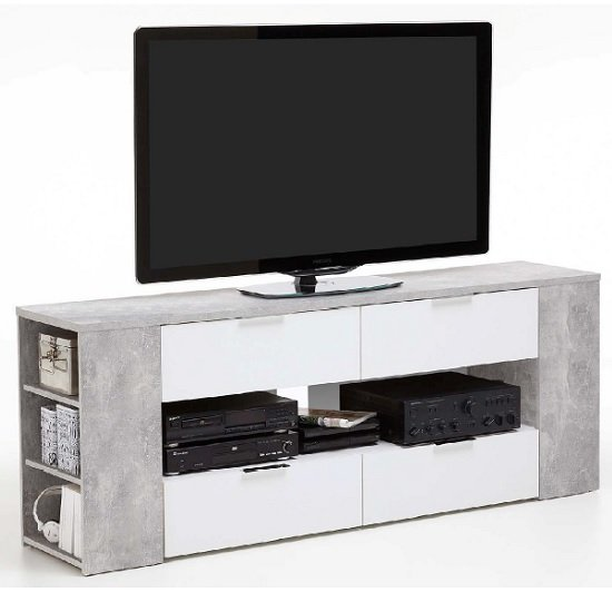 Diana LCD TV Stand In Sand Oak And White With 4 Drawers