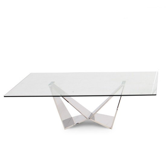 Diego Glass Coffee Table In Clear With Stainless Steel Base