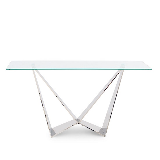 Diego Glass Console Table In Clear With Stainless Steel Base
