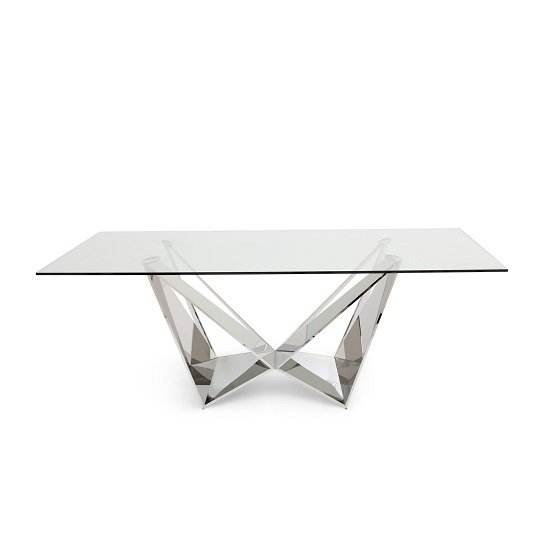 Diego Glass Dining Table In Clear With Stainless Steel Base