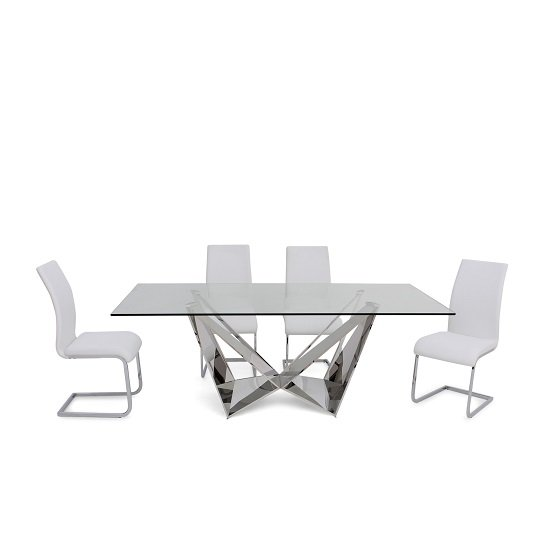 Diego Glass Dining Table In Clear With 6 Eden White PU Chairs