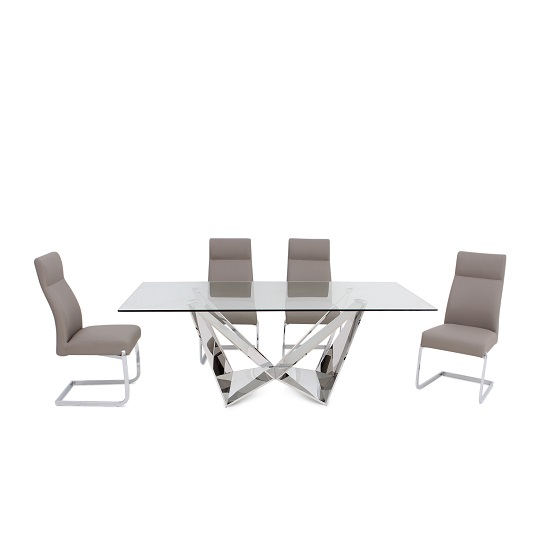 Diego Glass Dining Table In Clear With 6 Swiss Taupe PU Chairs