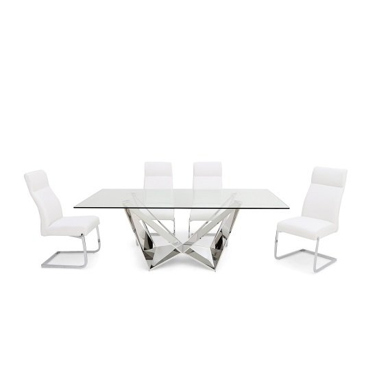 Diego Glass Dining Table In Clear With 6 Swiss White PU Chairs