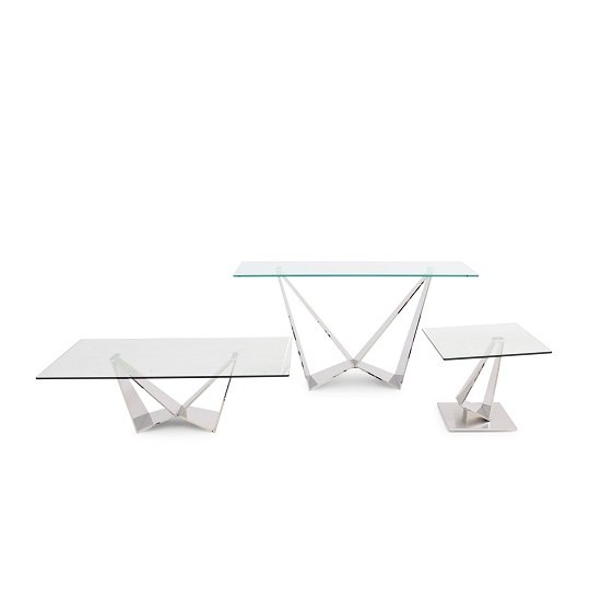 Diego Glass Coffee Table In Clear With Stainless Steel Base_2