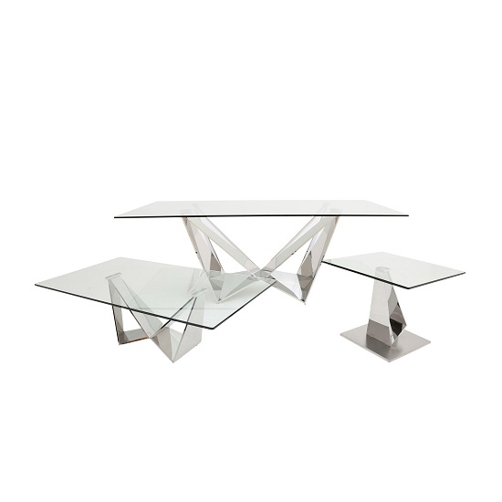 Diego Glass Coffee Table In Clear With Stainless Steel Base_3