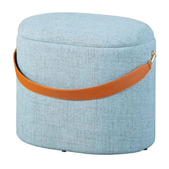 Dilia Fabric Storage Ottoman In Grey With Leather Strap_3