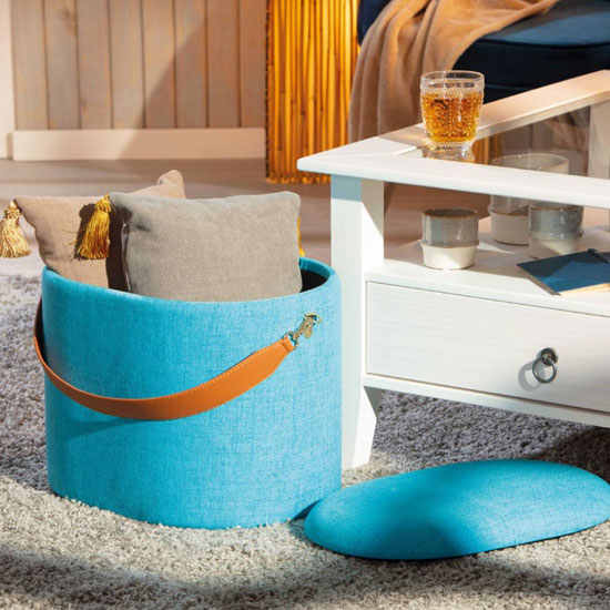 Dilia Fabric Storage Ottoman In Ocean Blue With Leather Strap_2