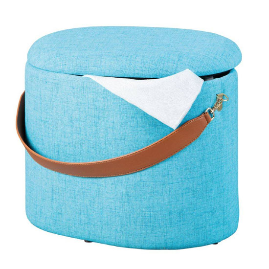 Dilia Fabric Storage Ottoman In Ocean Blue With Leather Strap_3