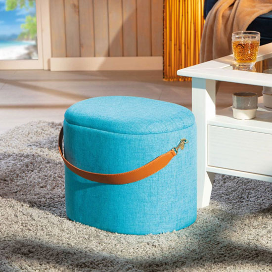 Dilia Fabric Storage Ottoman In Ocean Blue With Leather Strap_1