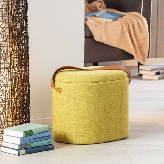 Dilia Fabric Storage Ottoman In Yellow With Leather Strap