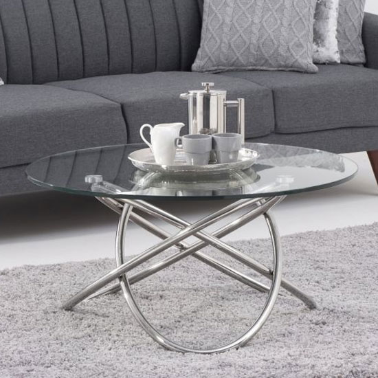 Dina Glass Coffee Table In Clear With Stainless Steel Frame