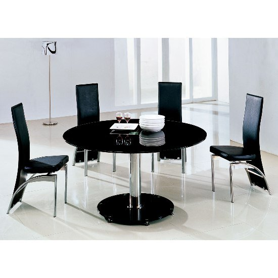 Maxi Glass Dining Table Round In Black With 6 G501 Dining Chairs