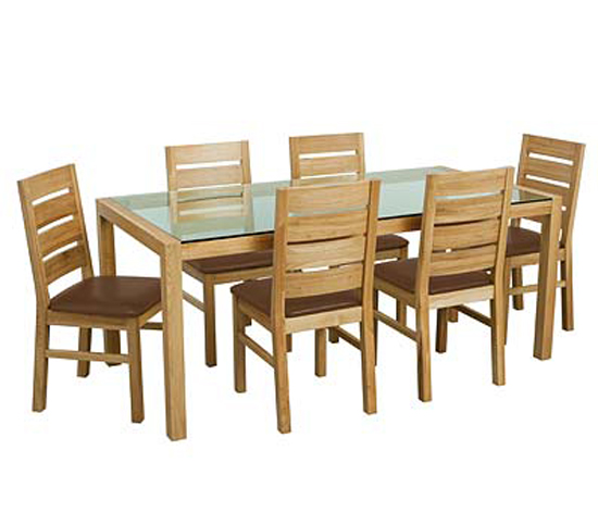 Solid Oak Dining Set with Glass Top Table