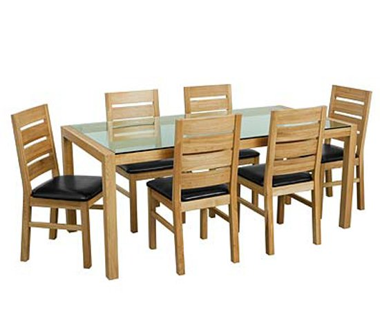 Superior Solid Oak Glass Top Dining Table Set With Six Chairs