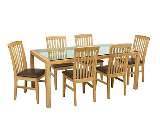 Solid Oak Glass Dining Table With Brown Dining Chairs