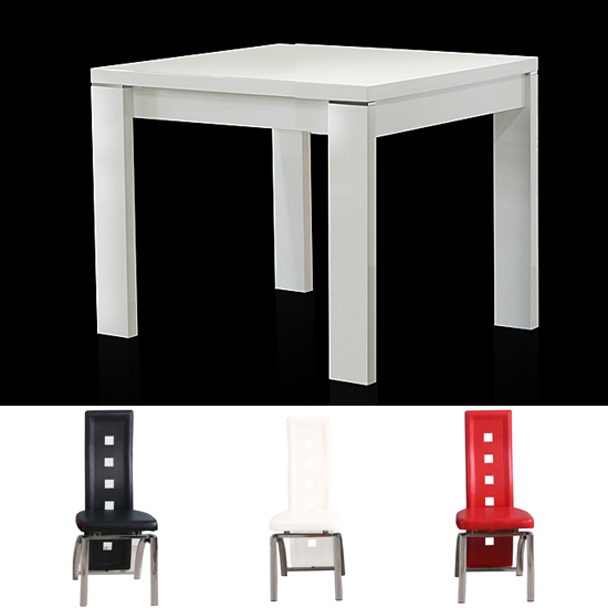 High gloss square white dining table and 2 manhattan chairs
