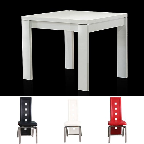 White Square Dining Table: High Gloss Dining Table And Chairs