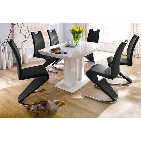 Genisimo Extendable Dining Table Gloss 140cm 6 Chairs
