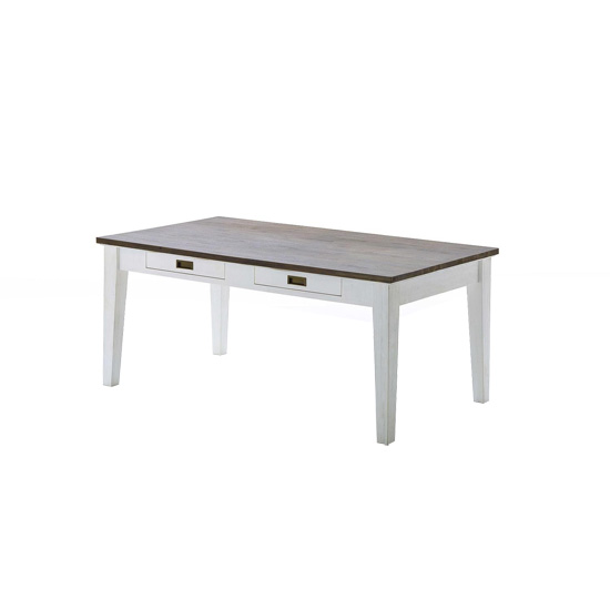 Gomera Dining Table In White Acacia 2 Drawers