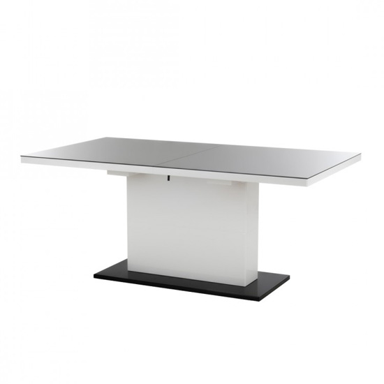 Corona Extendable Dining Table With A Black Glass Top