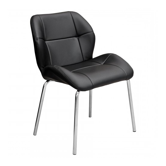 Dinky Bistro Faux Leather Dining Chair In Black