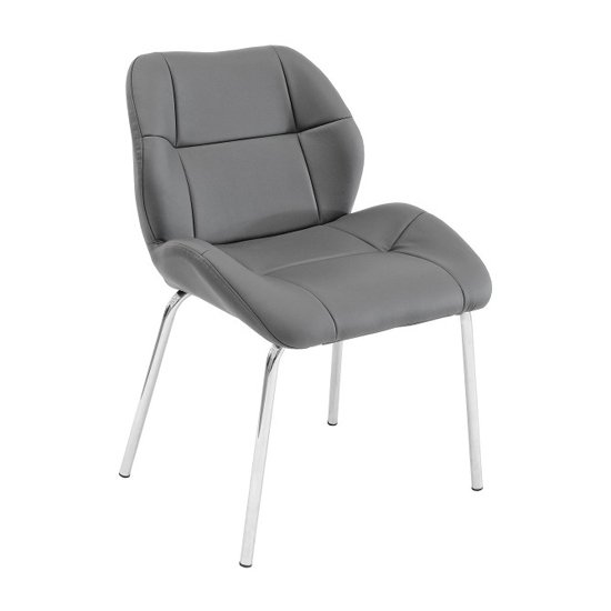 Dinky Bistro Faux Leather Dining Chair In Grey