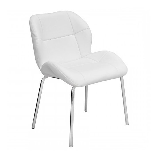 Dinky Bistro Faux Leather Dining Chair In White
