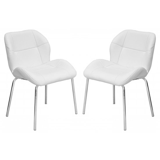 Dinky Bistro White Faux Leather Dining Chairs In Pair