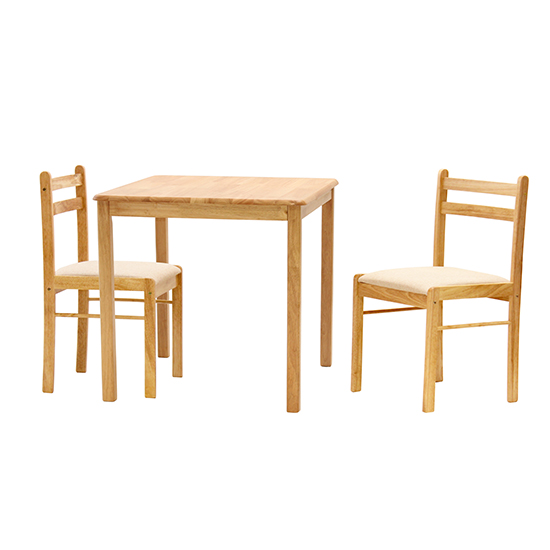 Dinnite Wooden Dining Set In Natural With 2 Chairs
