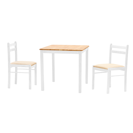 View Dinnite wooden dining set in natural and white with 2 chairs