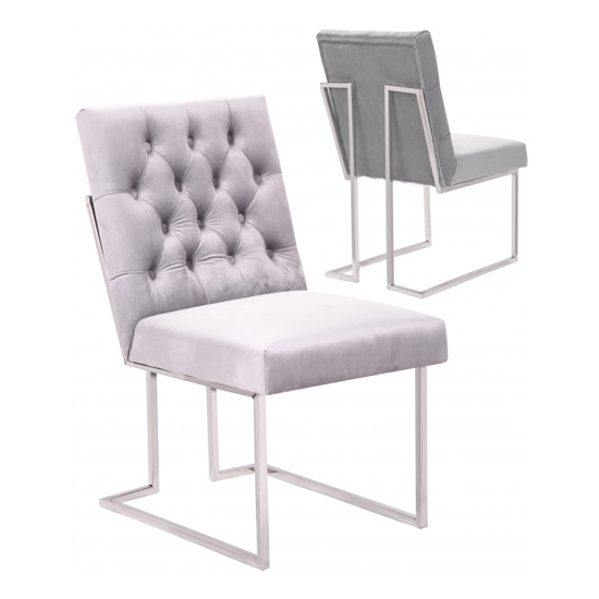 Dino White Velvet Dining Chairs In Pair