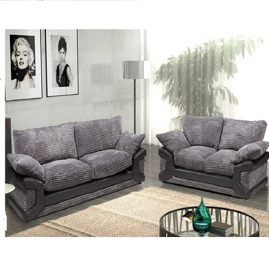 Dinos fabric sofa suite 3 and 2 seater black and grey 20371 for Black and grey sofa set