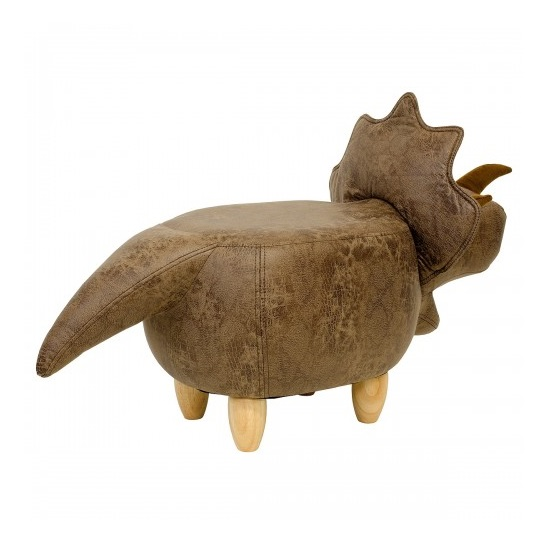 Dinosaur Triceratop Shaped Pouffe In Brown Finish_2