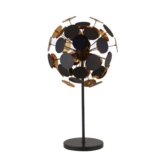 Discus 3 Bulb Table Lamp In Black And Gold