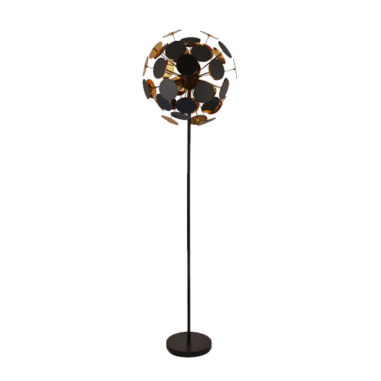 Discus 4 Bulb Floor Lamp In Black And Gold