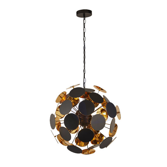 Product photograph showing Discus Wall Hung 4 Pendant Light In Black And Gold
